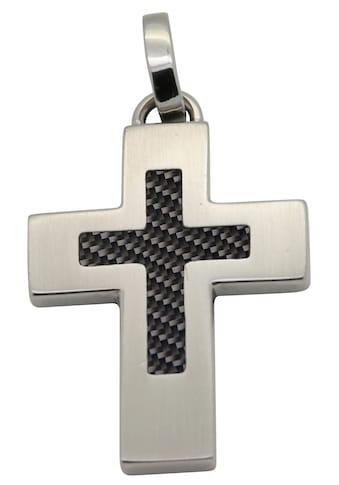 Firetti Kettenanhänger »Kreuz, matt, massiv«, mit Carbon, Made in Germany kaufen