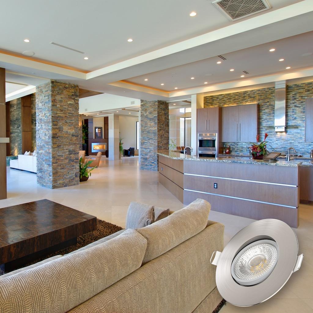 B.K.Licht LED Einbauleuchte, LED-Board, Warmweiß, LED Deckenspots schwenkbar Einbaustrahler Spots Lampe ultra-flach IP23 12er SET