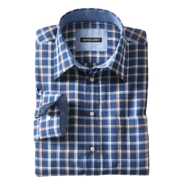 Marco Donati Langarm-Hemd aus weicher Flanell-Qualität
