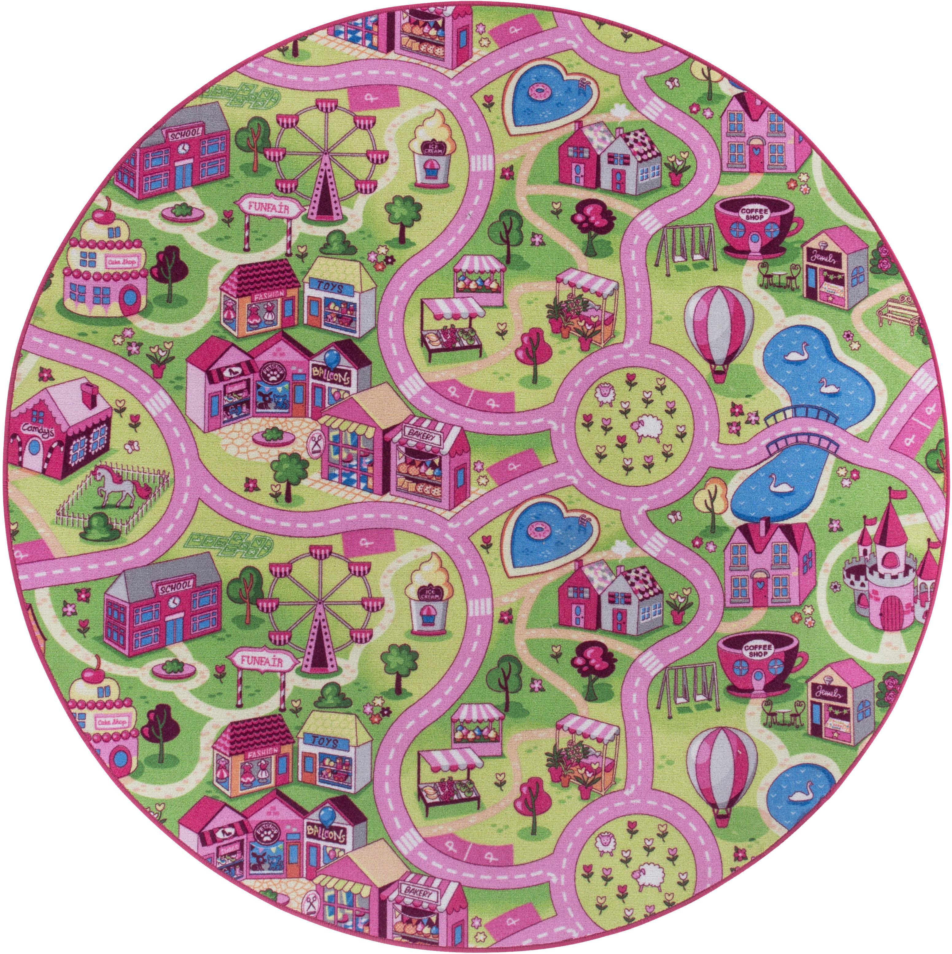 Kinderteppich, Sweet Village, Andiamo, rund, Höhe 7 mm, maschinell getuftet rosa Damen Bunte Kinderteppiche Teppiche