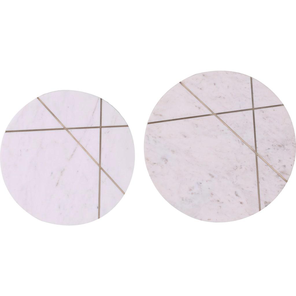 Leonique Beistelltisch »Menton«, mit Metallintarsien in der Marmorplatte (2er-Set)