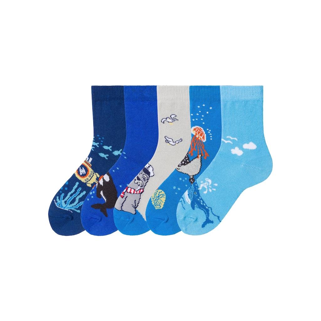 Arizona Socken, (5 Paar), mit Meeresmotiven