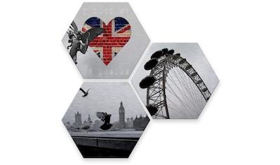 Wall-Art Mehrteilige Bilder »Silber London Stadt Collage«, (Set, 3 St.) kaufen