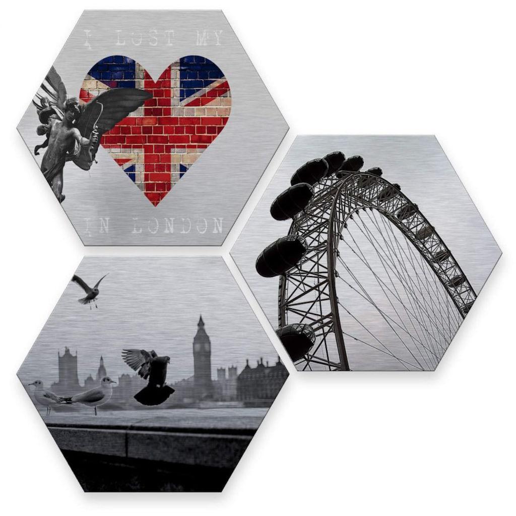 Wall-Art Mehrteilige Bilder »Silber London Stadt Collage«, (Set, 3 St.)