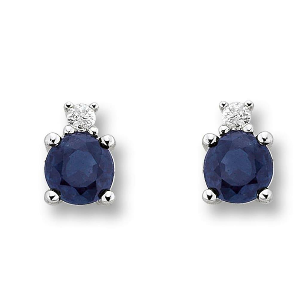 ONE ELEMENT Paar Ohrstecker »Ohrringe / Ohrstecker aus 585 Weißgold mit 0,02 ct Diamant Safir«