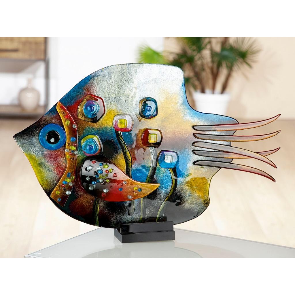 GILDE GLAS art Dekofigur »Skulptur Fisch Fresh Flowers«, Dekoobjekt, Tierfigur, Höhe 39,5 cm, aus durchgefärbten Glas, in Handarbeit gefertigt & handbemalt, Wohnzimmer
