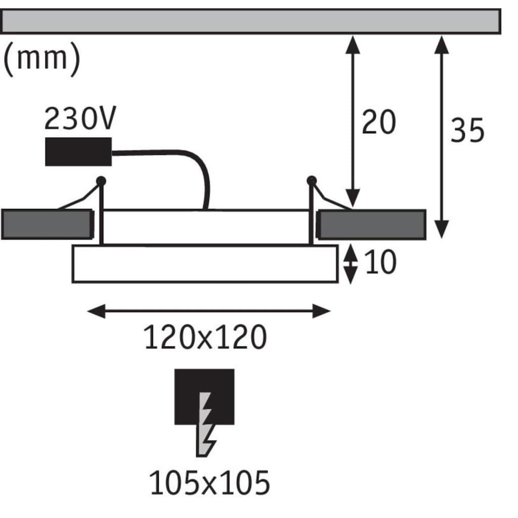 Paulmann LED Einbaustrahler »Panel Areo IP23 eckig 120x120mm 8W 3.000K Nickel matt IP23 Deckenmontage«, Warmweiß