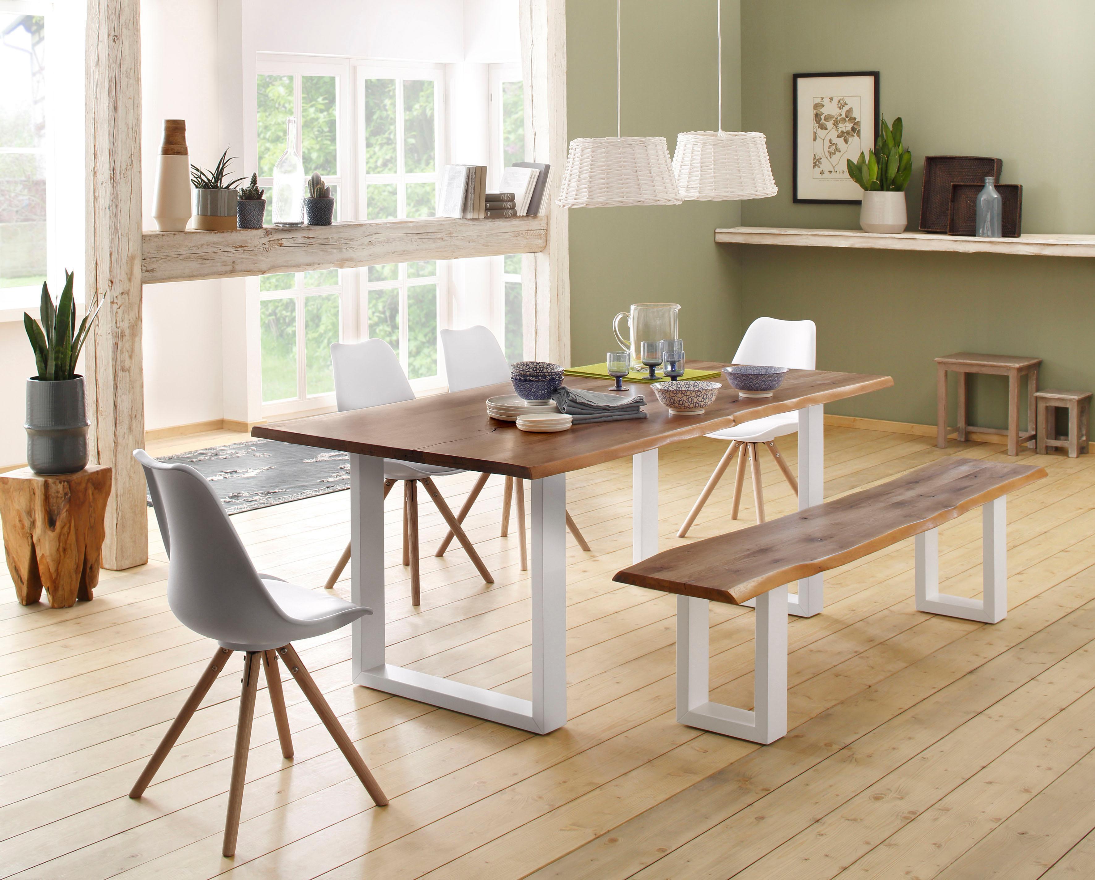 Home affaire Tisch Lagos (Set) bestehend aus dem Micala Esstisch Micala Bank und 4 Brighton Stühlen