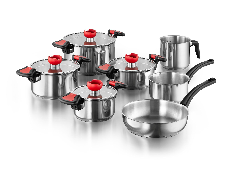 KOPF Intelligentes Kochtopfset aus Edelstahl Induktion Nelo 11-teilig 11tlg | Küche und Esszimmer > Kochen und Backen > Töpfe | Kunststoff | Kopf
