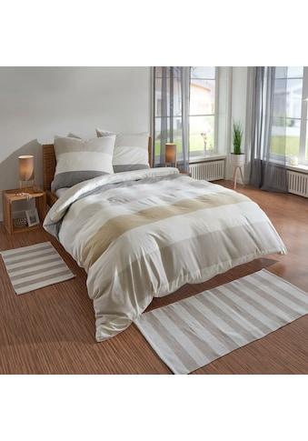 TRAUMSCHLAF Bettwäsche »Melange Streifen Natur«, Biberbettwäsche weich und kuschelig kaufen
