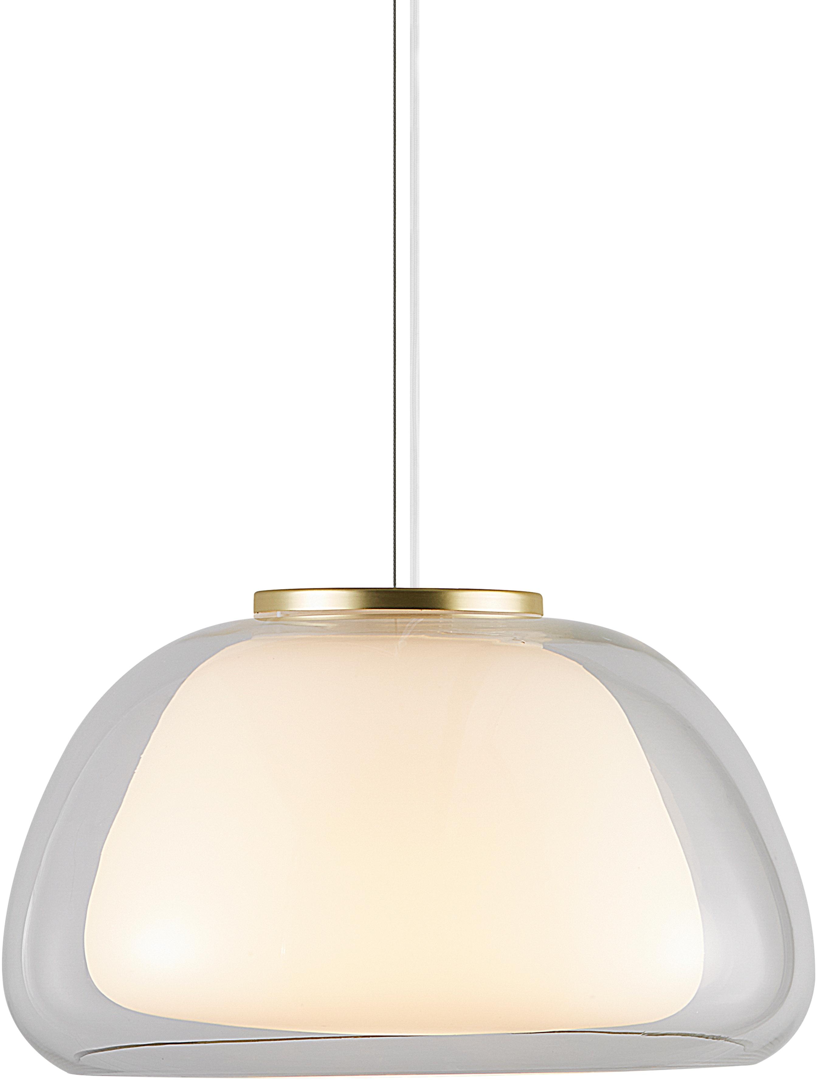 Nordlux Pendelleuchte JELLY, E27, Hängeleuchte, Messing Applikation, Opal Glas mundgeblasen, höhenverstellbar