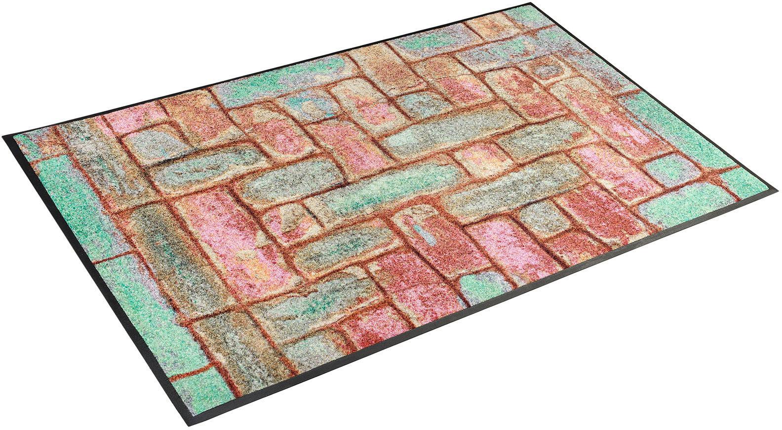 Teppich Pretty Bricks wash+dry by Kleen-Tex rechteckig Höhe 7 mm gedruckt