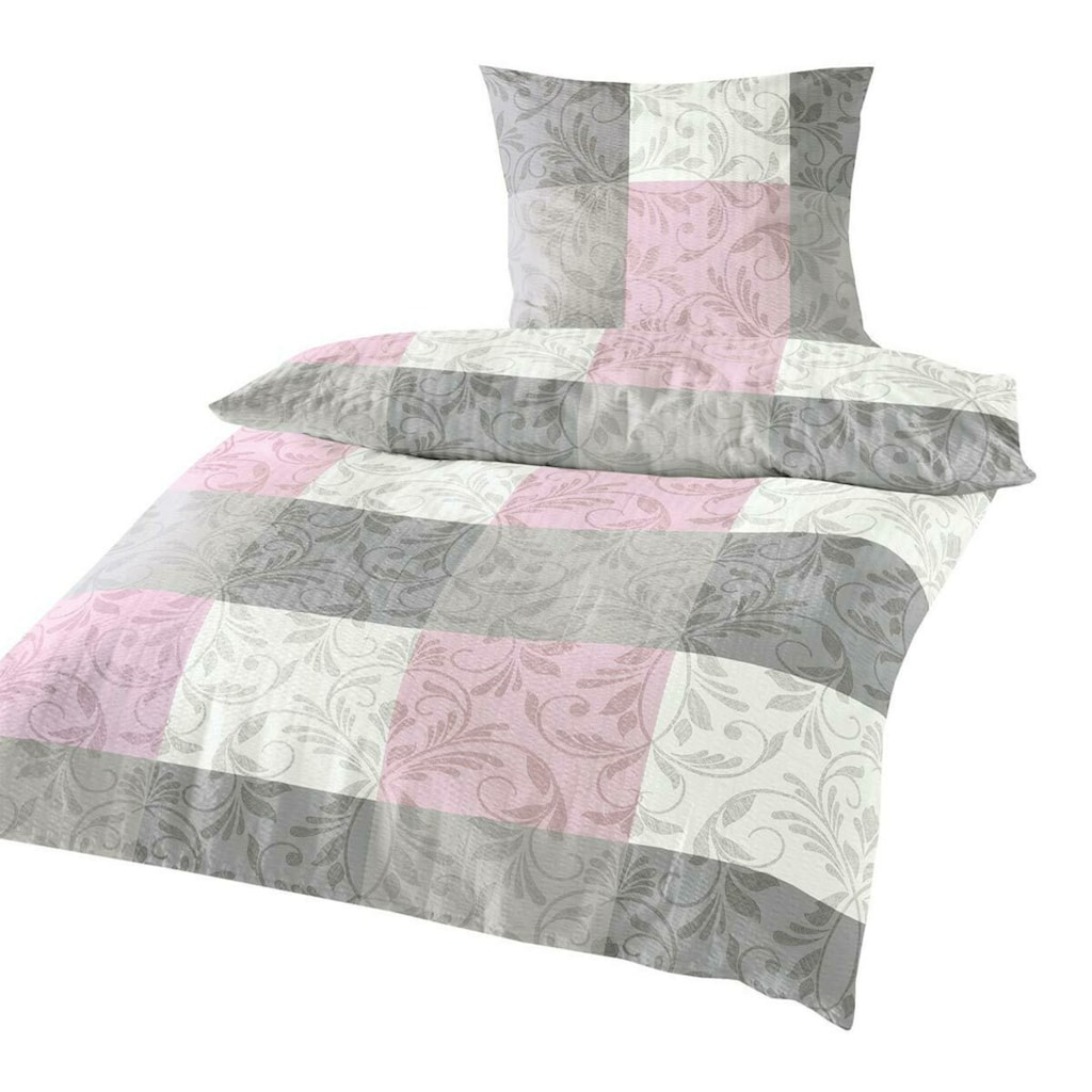 TRAUMSCHLAF Bettwäsche »Fleur rose«, bügelfreie Seersucker Qualität