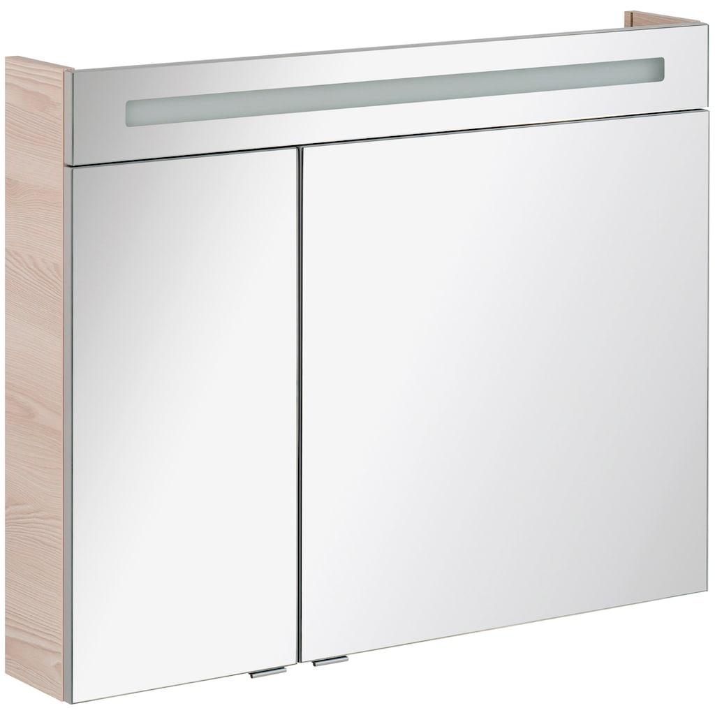 FACKELMANN Spiegelschrank »CL 90 - Alaska-Esche«, Breite 90 cm, 2 Türen, LED-Badspiegel, doppelseitig verspiegelt
