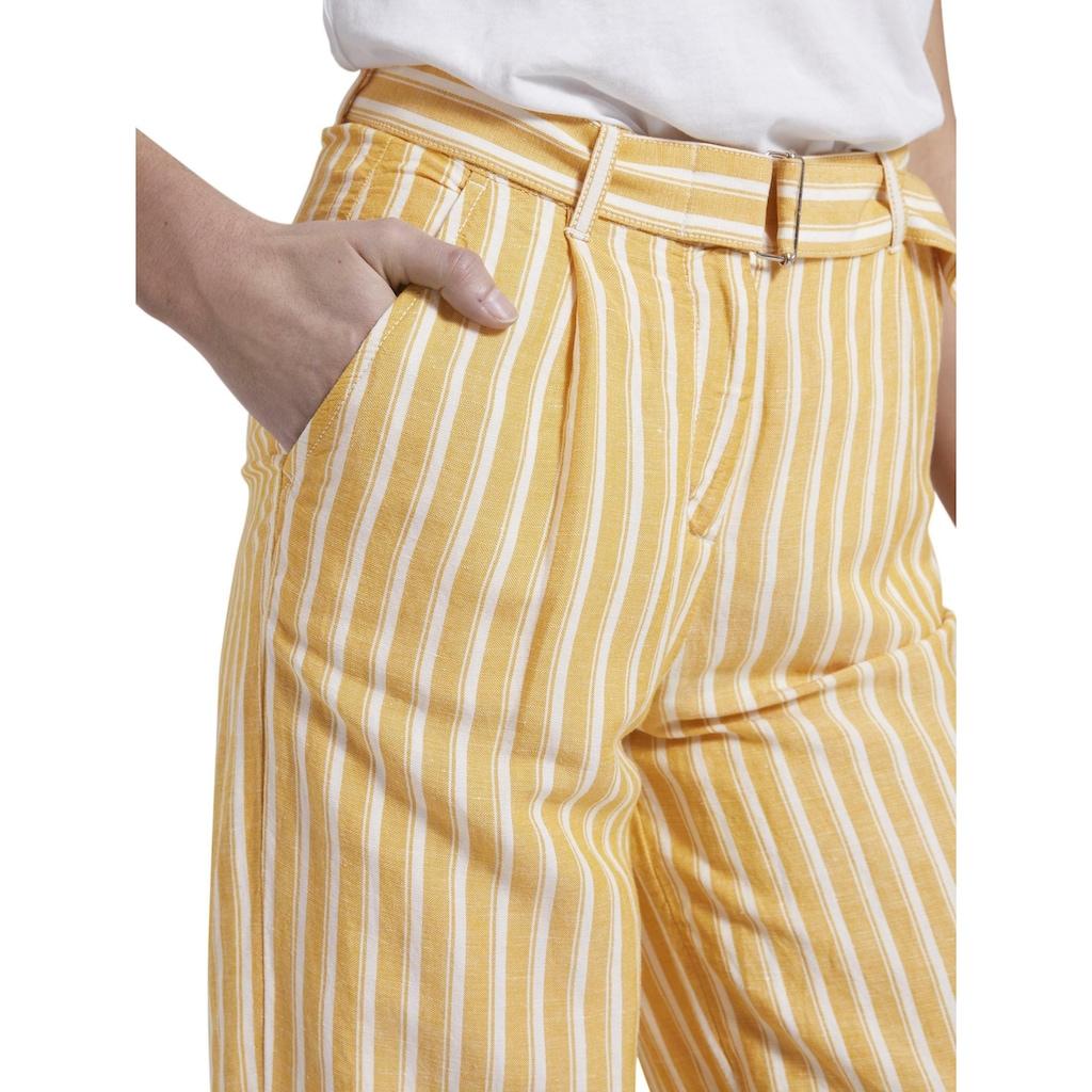 TOM TAILOR Culotte »Gestreifte Culotte-Hose aus Leinengemisch«