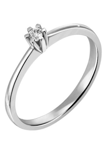 Firetti Diamantring »Solitär, zeitlos, Krappenfassung, Glanzoptik, massiv«, mit Brillant kaufen