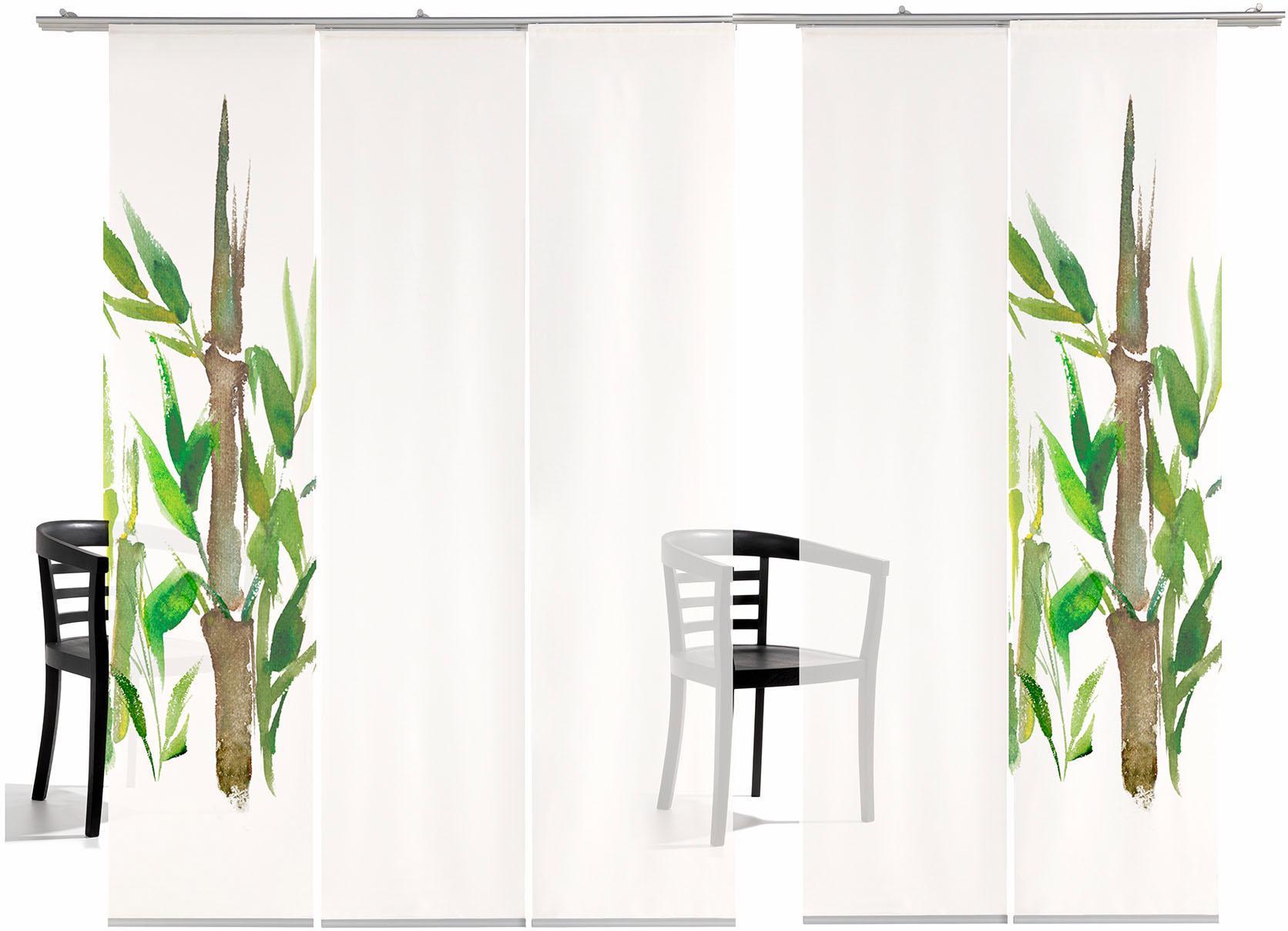 Schiebegardine, »Bambus TR«, emotion textiles, Klettband 5 Stück | Heimtextilien > Gardinen und Vorhänge > Schiebegardinen und Schiebevorhänge | Grün | EMOTIONTEXTILES