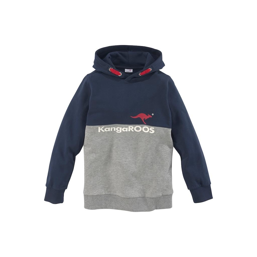 KangaROOS Kapuzensweatshirt, zweifarbig mit Logodruck
