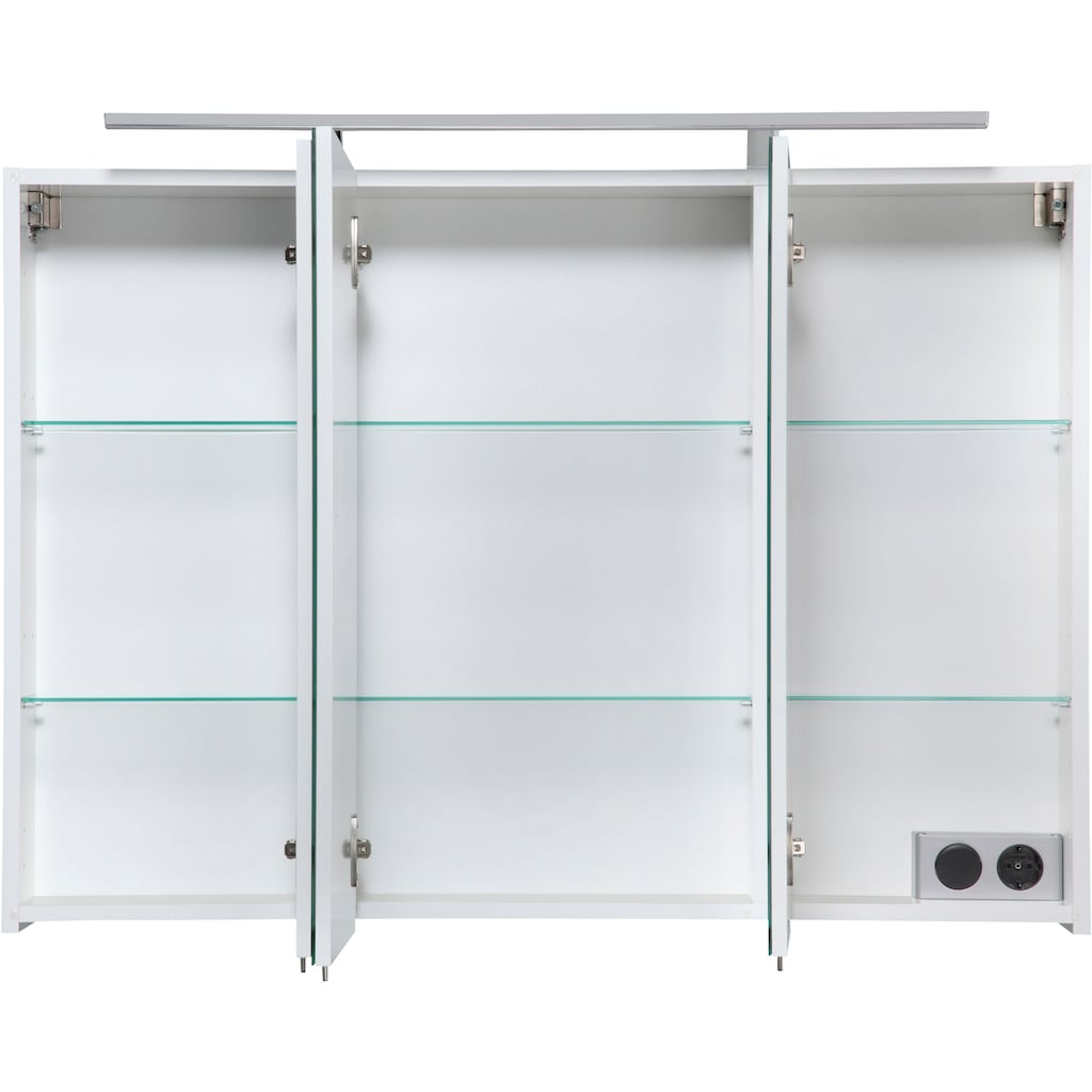 Schildmeyer Spiegelschrank »Torino«, Breite 100 cm, 3-türig, LED-Beleuchtung, Schalter-/Steckdosenbox, Glaseinlegeböden, Soft-Close, Made in Germany