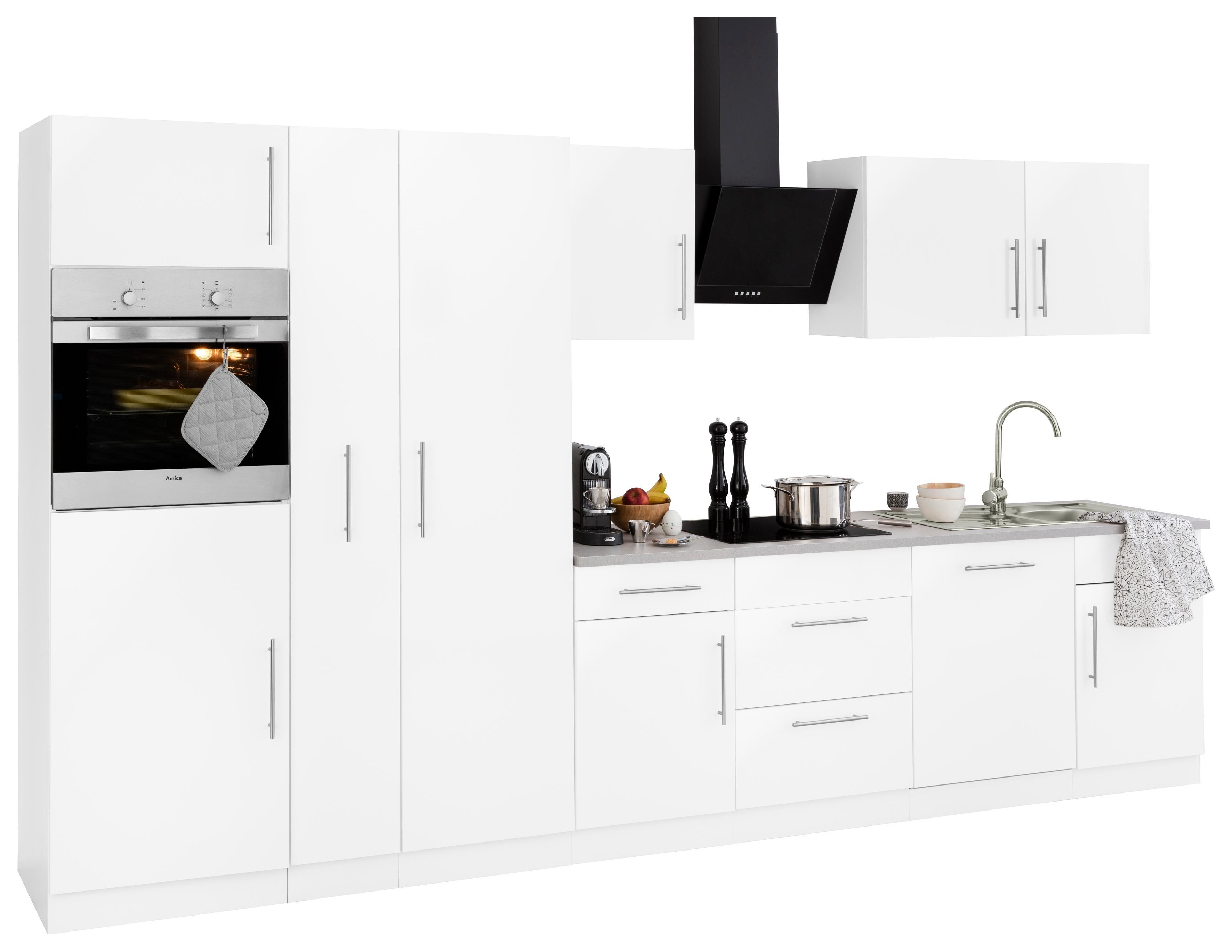 Küchenzeile Cali mit E-Geräten Breite 360 cm mit Metallgriffen Preisvergleich