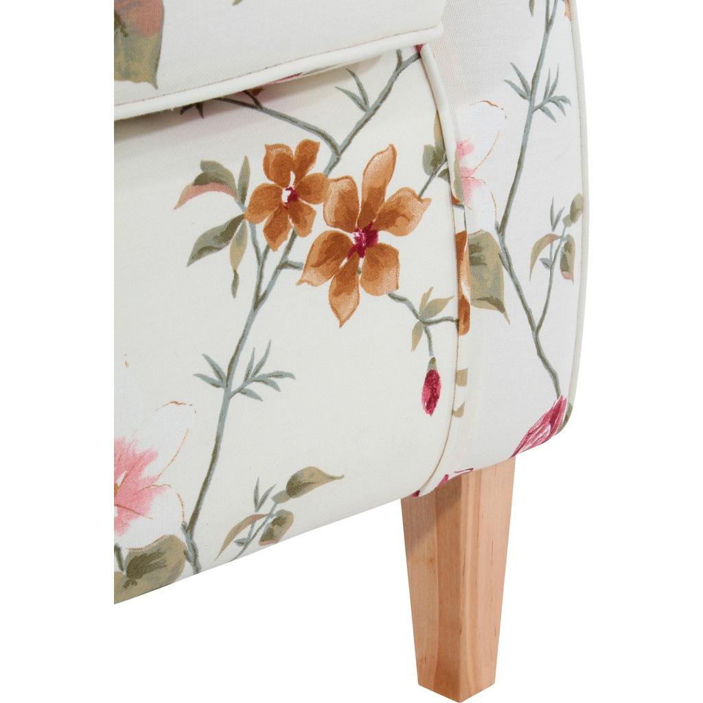 Max Winzer® Ohrensessel »Luke«, mit Kederverzierung, mit Blumenmuster