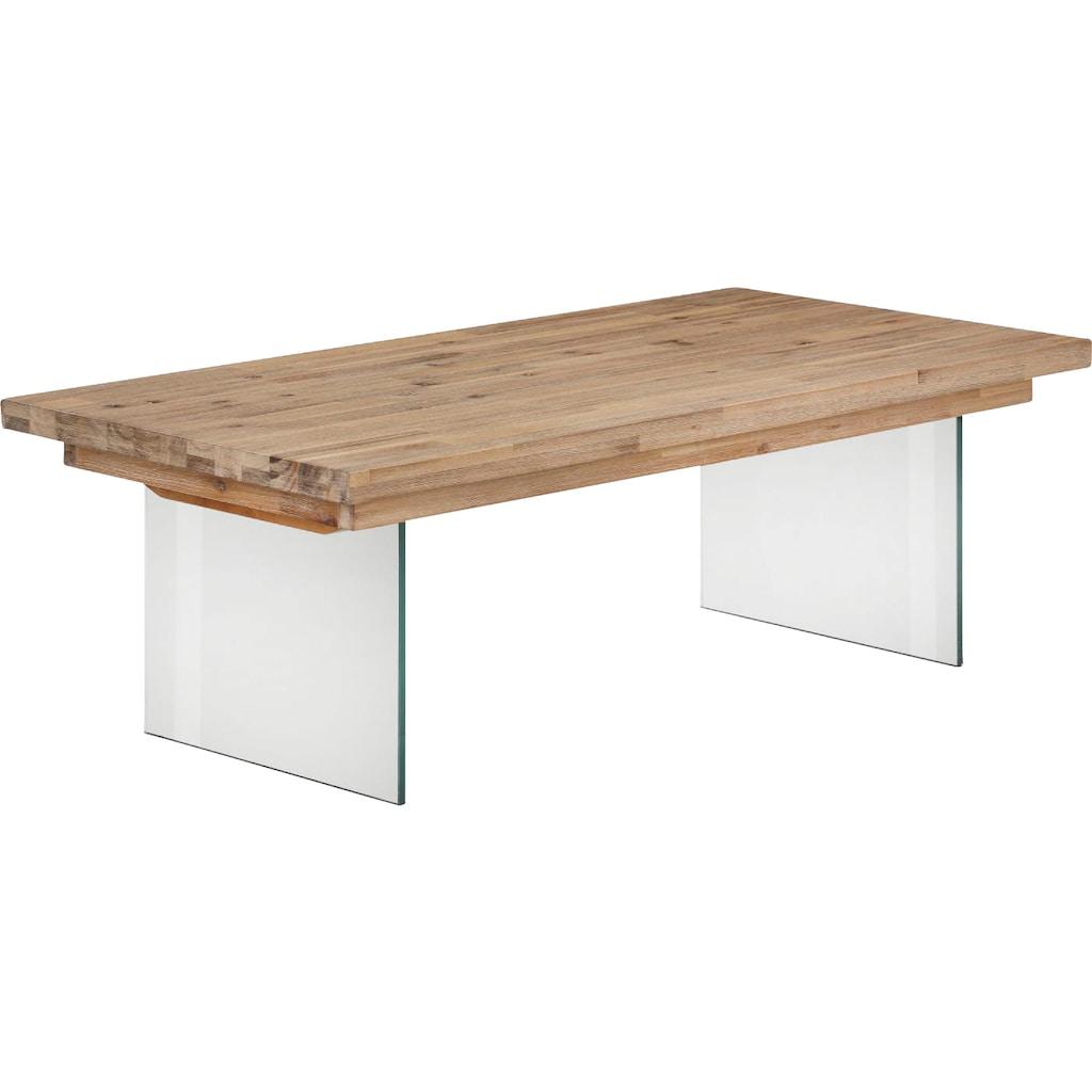 Home affaire Couchtisch »Megan«, au schönem massivem Akazienholz, mit einem Glasplattengestell, in unterschiedlichen Größen