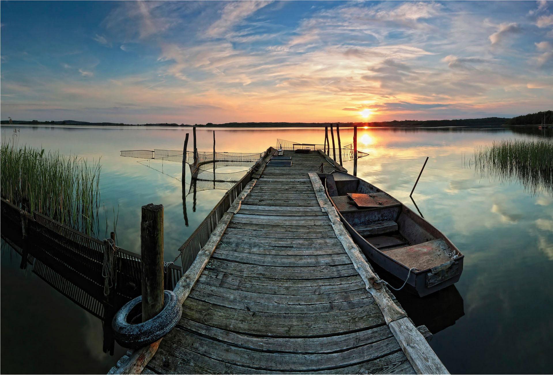Vliestapete Sunset at the lake bunt Fototapeten Tapeten Bauen Renovieren