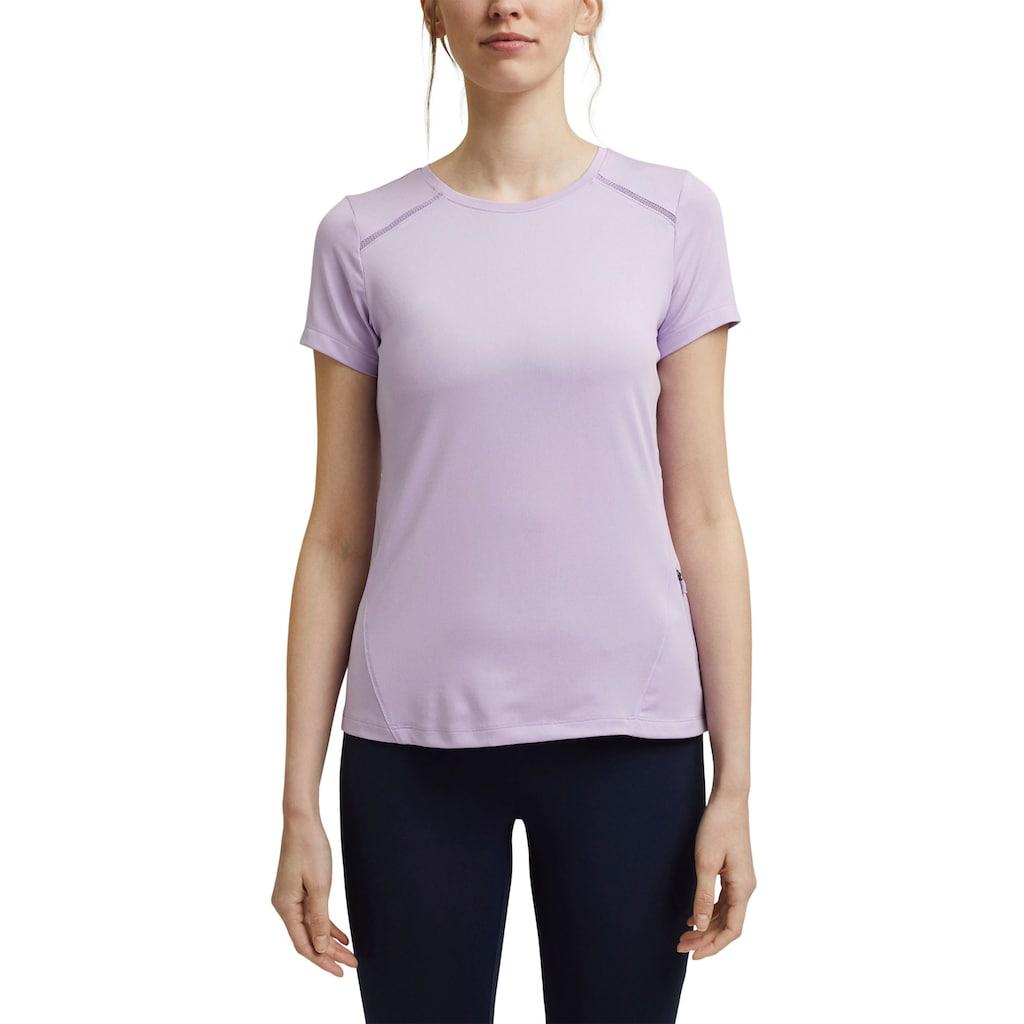 esprit sports T-Shirt, mit dezenten Netzeinsätzen und Label-Druck hinten
