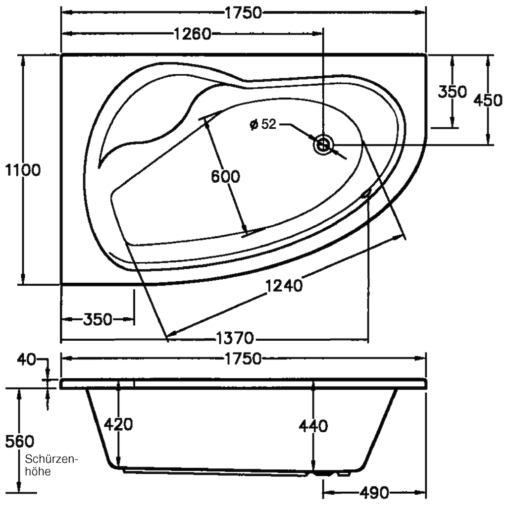 OTTOFOND Whirlpool-Badewanne »Loredana«, Typ 1, chrom