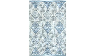 morgenland Wollteppich »Kelim Teppich handgewebt blau«, rechteckig, 6 mm Höhe, Kurzflor kaufen