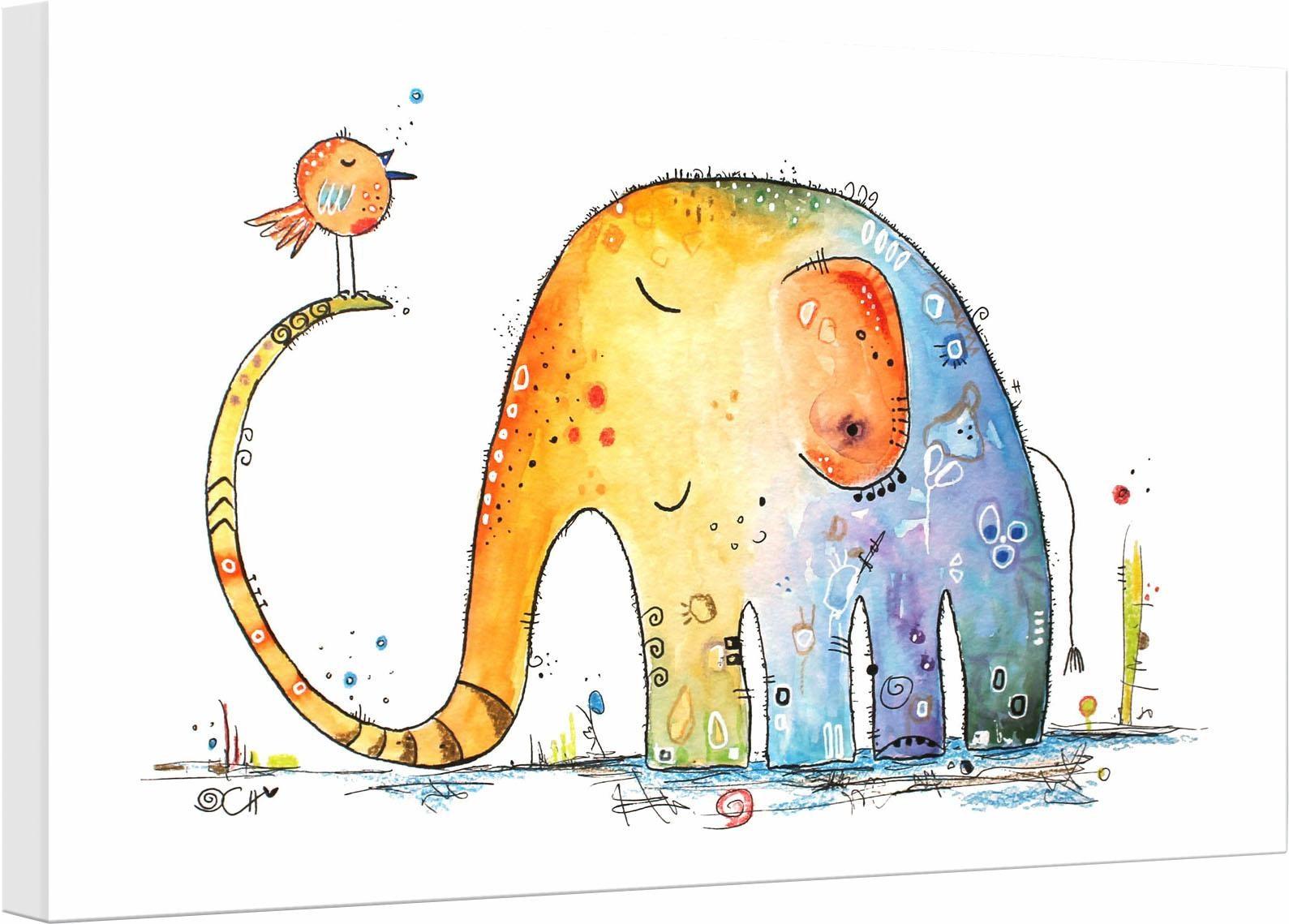 Leinwandbild Hagenmeyer - Elefant mit Vogel Elefant Wohnen/Accessoires & Leuchten/Wohnaccessoires/Bilder & Bilderrahmen/Leinwandbilder