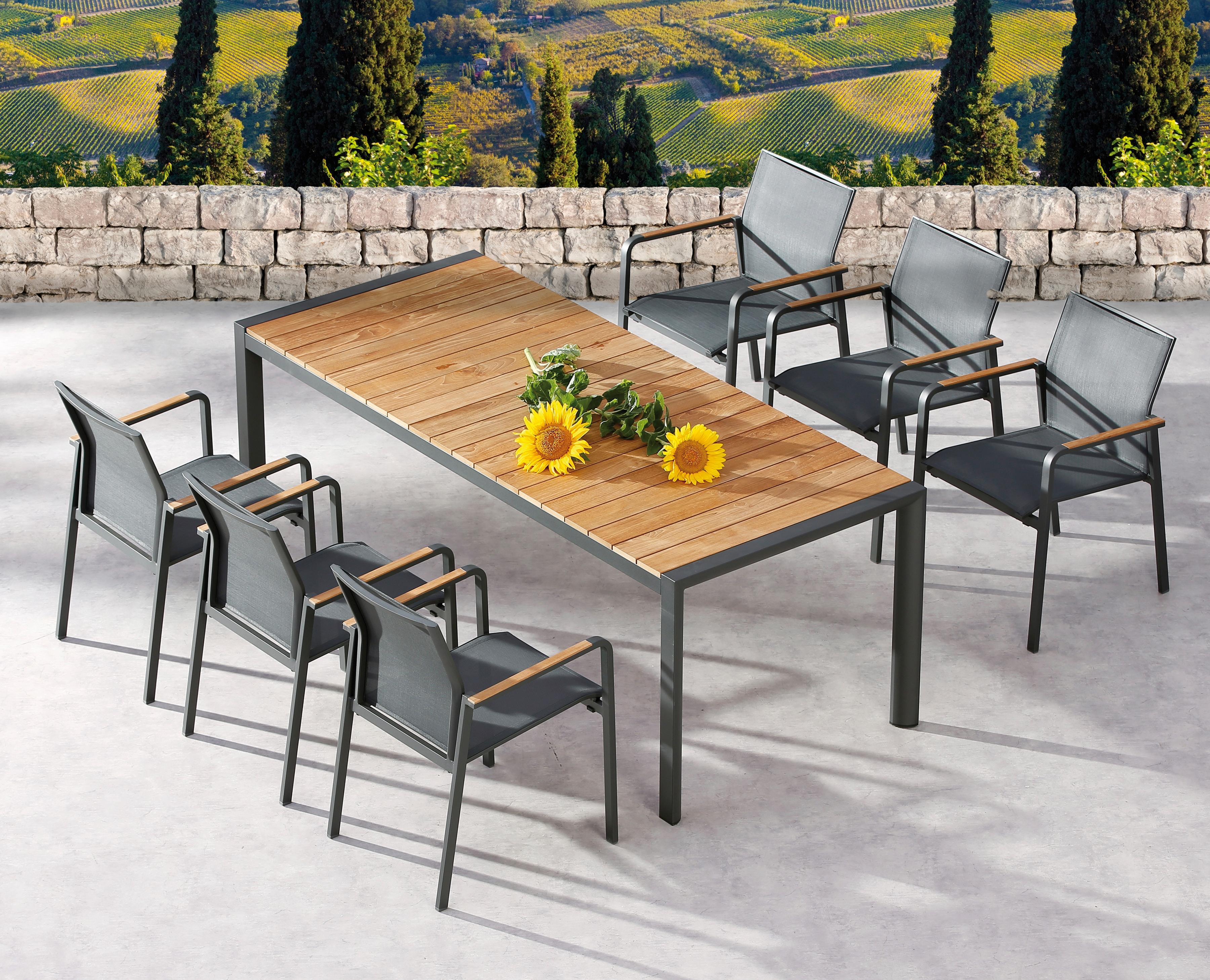 BEST Gartenmöbelset Paros 7-tlg 6 Sessel Tisch 210x90 cm stapelbar Teak/Ergotex