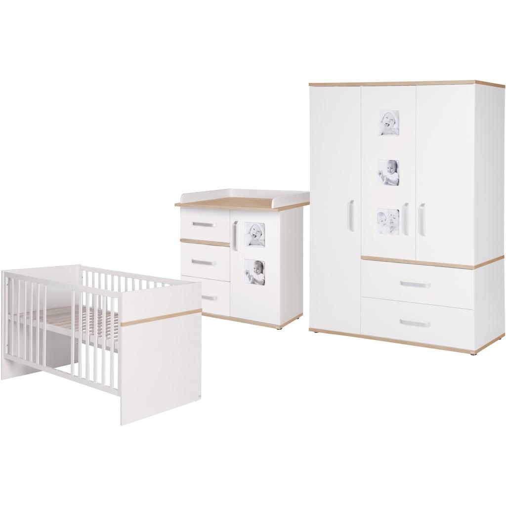 roba® Babyzimmer-Komplettset »Pia«, (Set, 3 St.), schmal; mit Kinderbett, Schrank und Wickelkommode