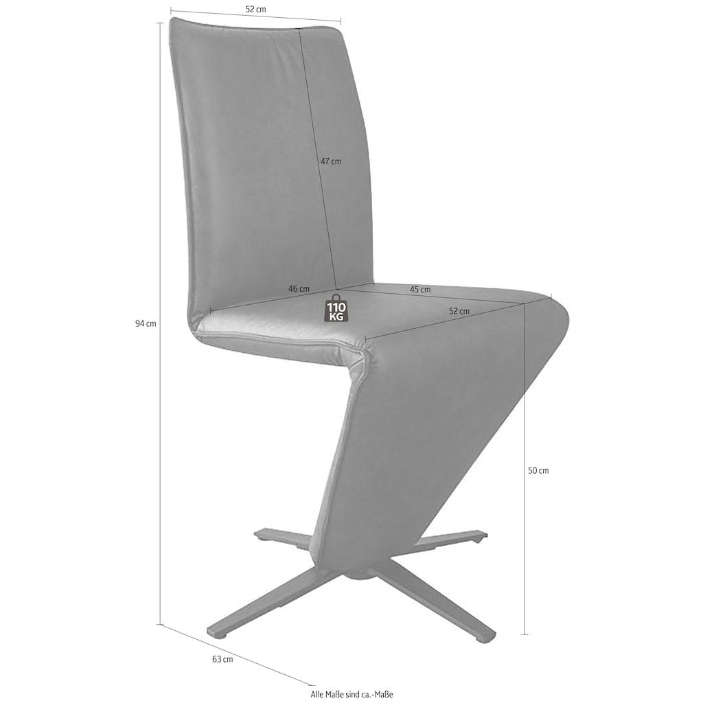K+W Komfort & Wohnen Drehstuhl »Deseo II«, Stuhl mit federnder Sitzschale, Sternfuß in Metall schwarz Struktur