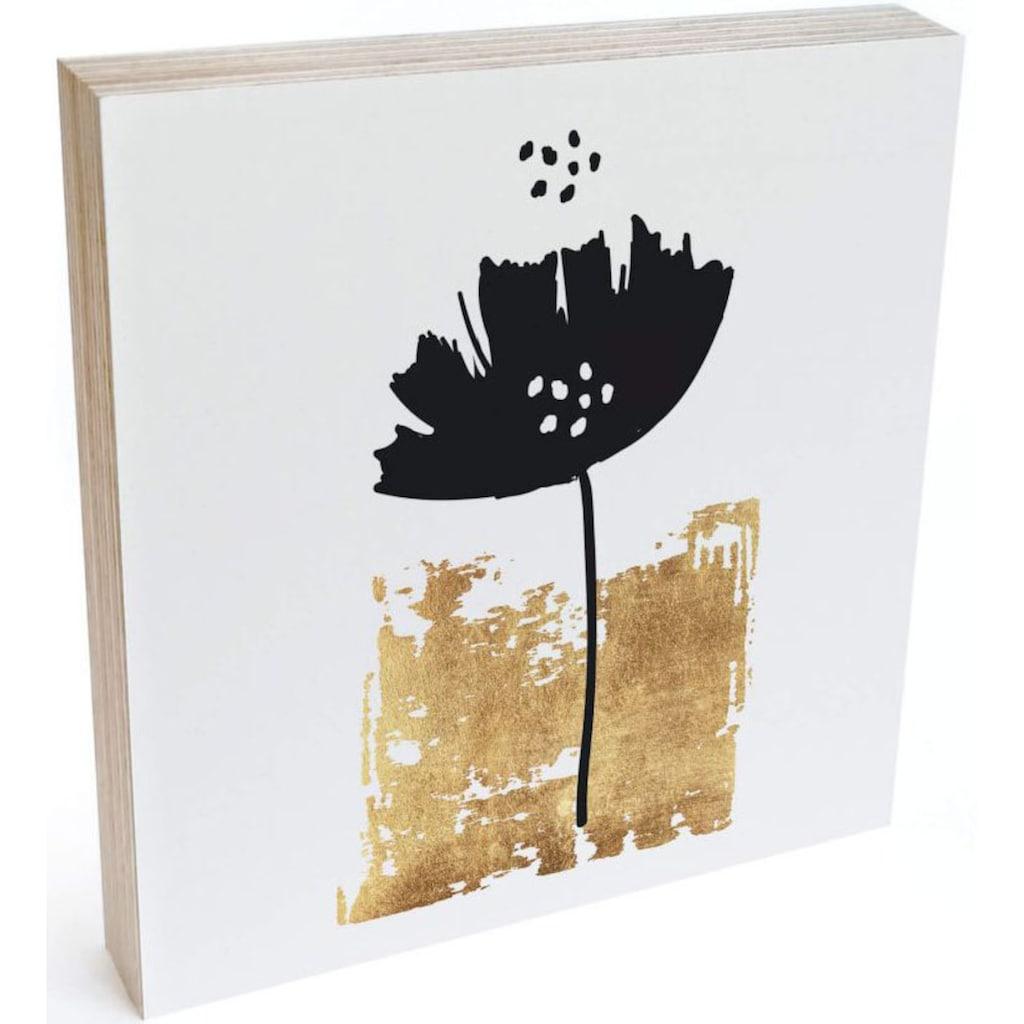 Wall-Art Holzbild »Tischdeko Schwarze Blume«, (1 St.)