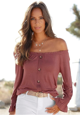 Buffalo Carmenshirt, mit Zierknopfleiste kaufen