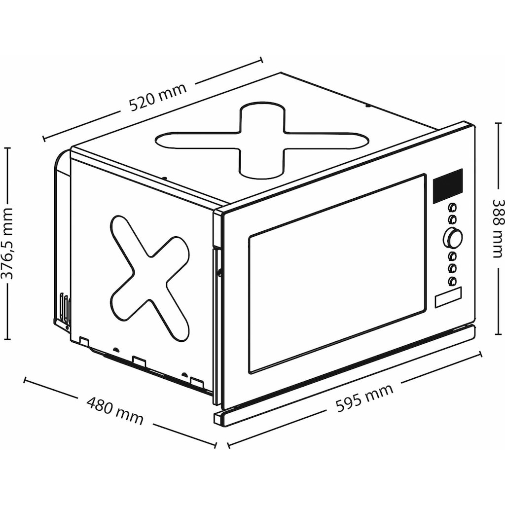 Caso Einbau-Mikrowelle »EMCG32«, Mikrowelle-Grill und Heißluft, 1000 W