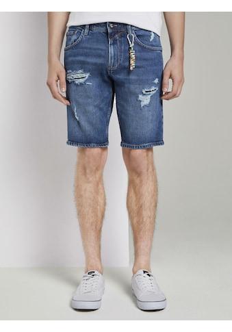 TOM TAILOR Denim Jeansshorts »Regular Jeansshorts im Destroyed - Look mit Schlüsselanhänger« kaufen