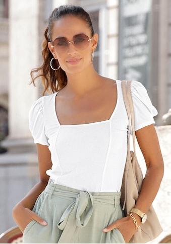 LASCANA Kurzarmshirt, aus gerippter Ware kaufen