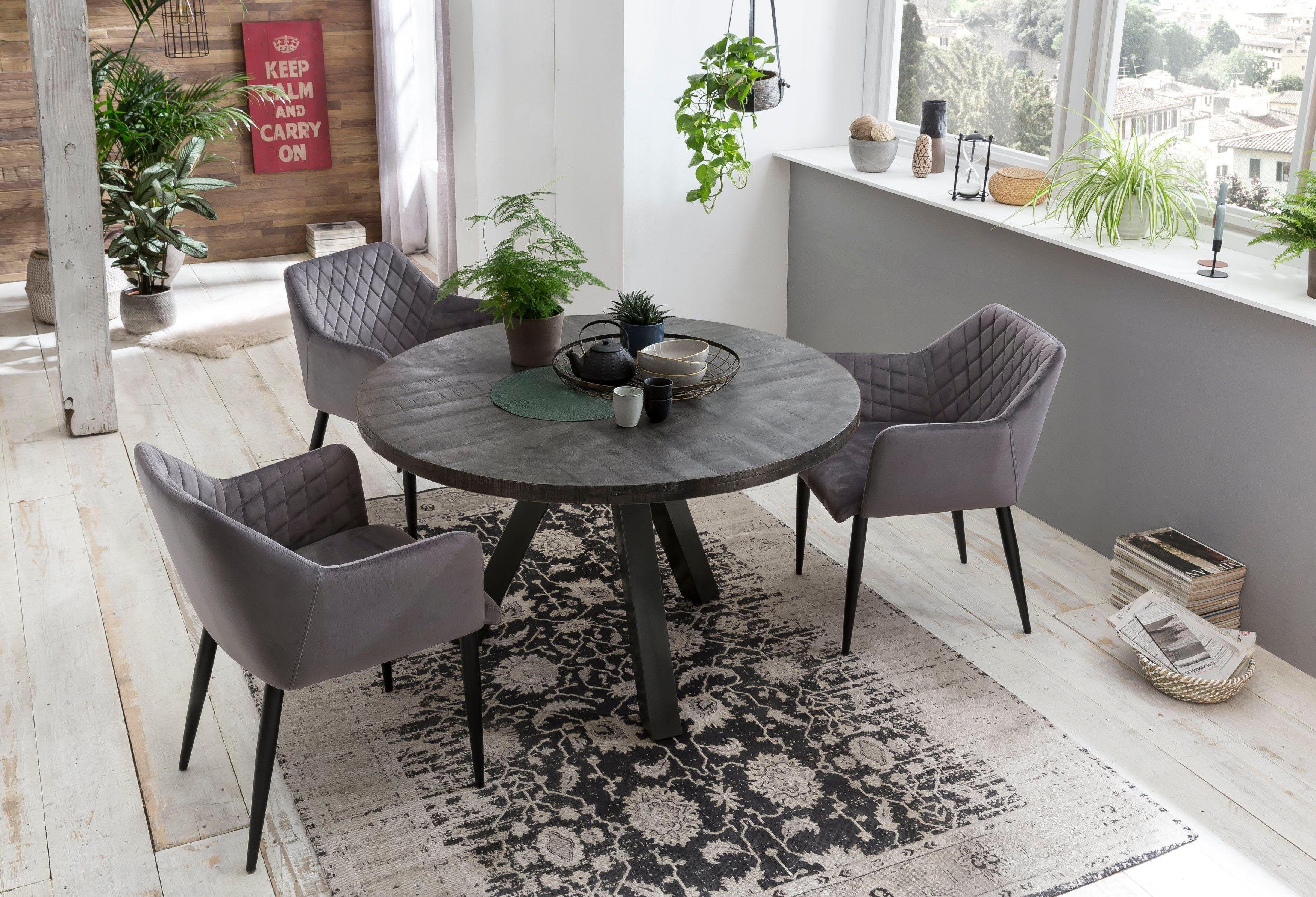 SIT Esstisch Tops&Tables, mit Massivholzplatte aus Mangoholz, runder Tisch grau Esstische quadratisch Tische