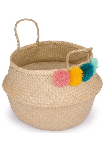 Franz Müller Flechtwaren Dekokorb »Belly Basket«, (1 St.), aus Seegras, mit bunten Pompons kaufen
