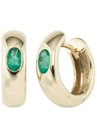 JOBO Paar Creolen, rund 585 Gold mit Smaragd kaufen
