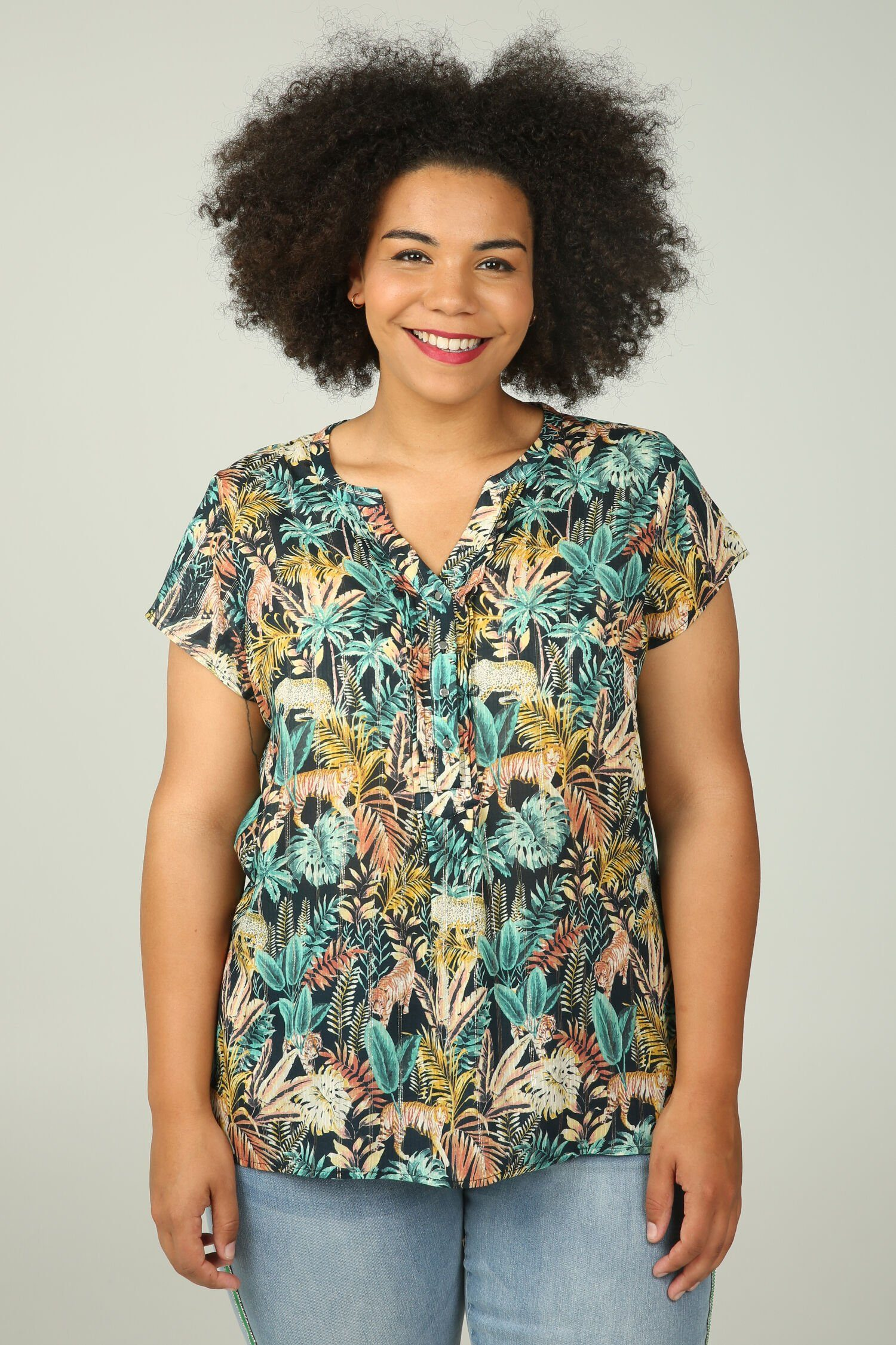 Paprika Druckbluse Bluse mit Dschungel- und Folienaufdruck