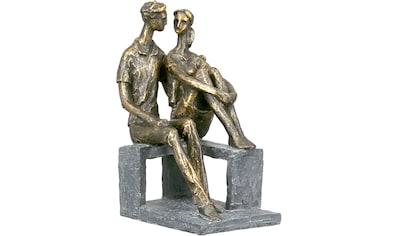 Casablanca by Gilde Dekofigur »Skulptur Small talk, bronzefarben«, Dekoobjekt, Höhe 24, Pärchen, mit Spruchanhänger, Wohnzimmer kaufen