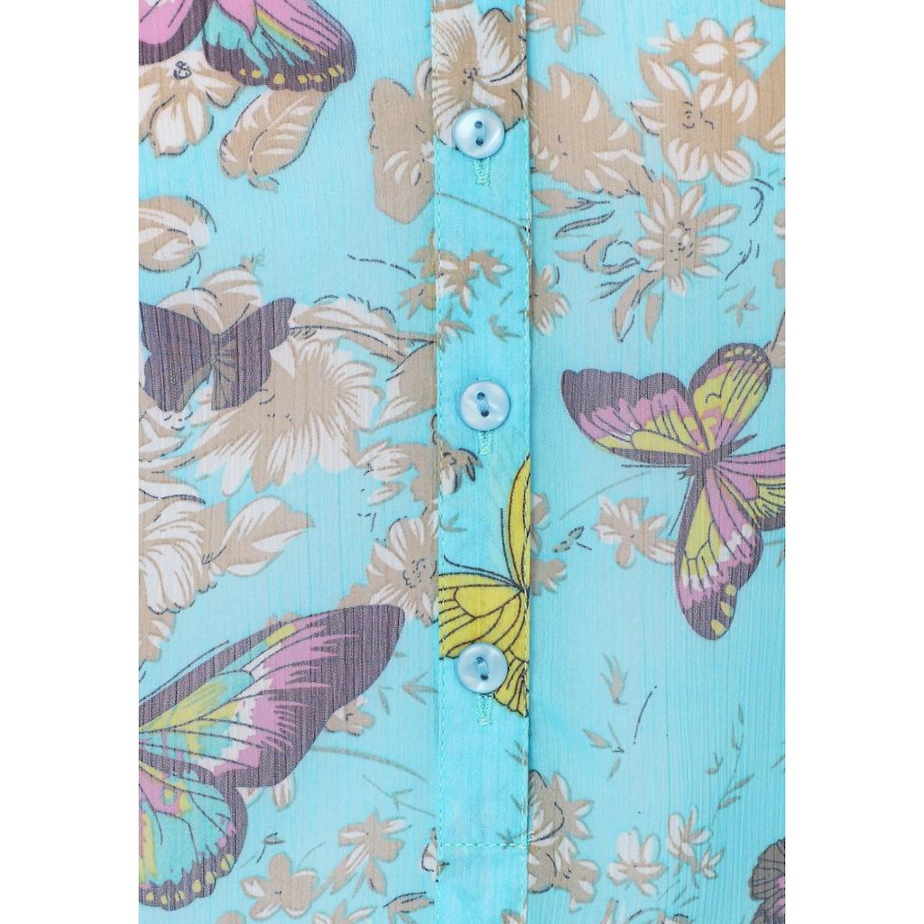 Aniston CASUAL Chiffonbluse, mit Blumen und Schmetterlingen bedruckt