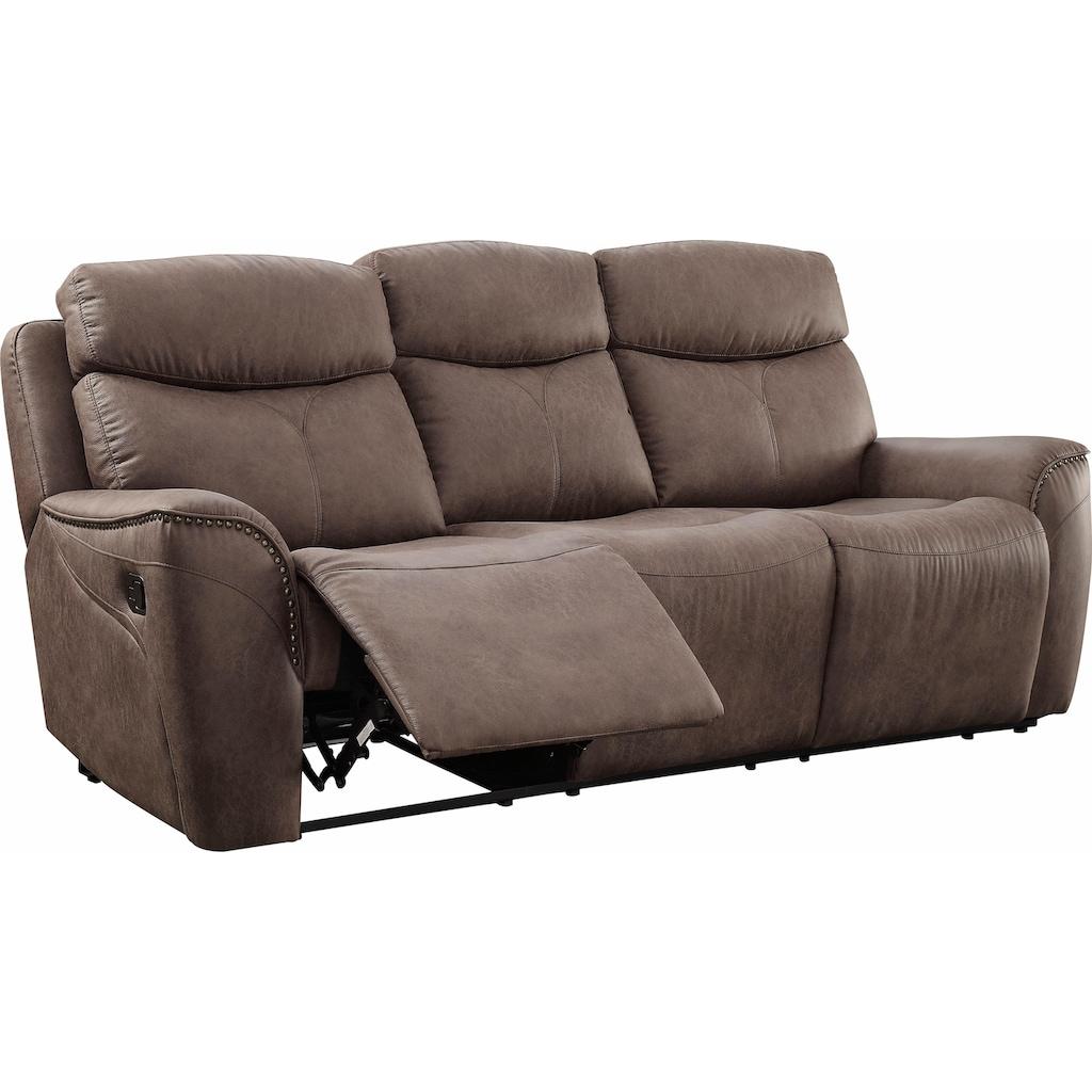 Home affaire 3-Sitzer »Pius«, mit Relaxfunktion und Nieten an den Armlehnen, Federkern