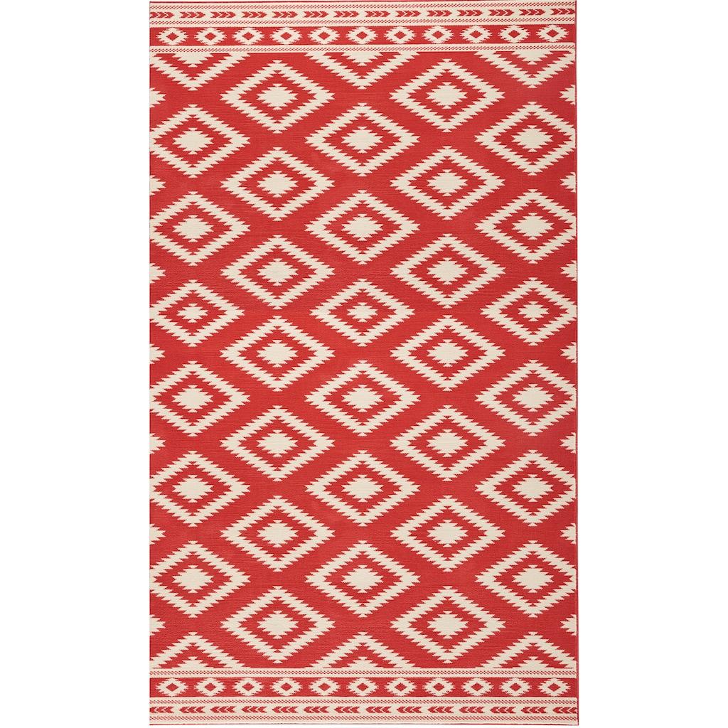 HANSE Home Teppich »Ethno«, rechteckig, 9 mm Höhe, Velours Haptik, gekettelt, Wohnzimmer