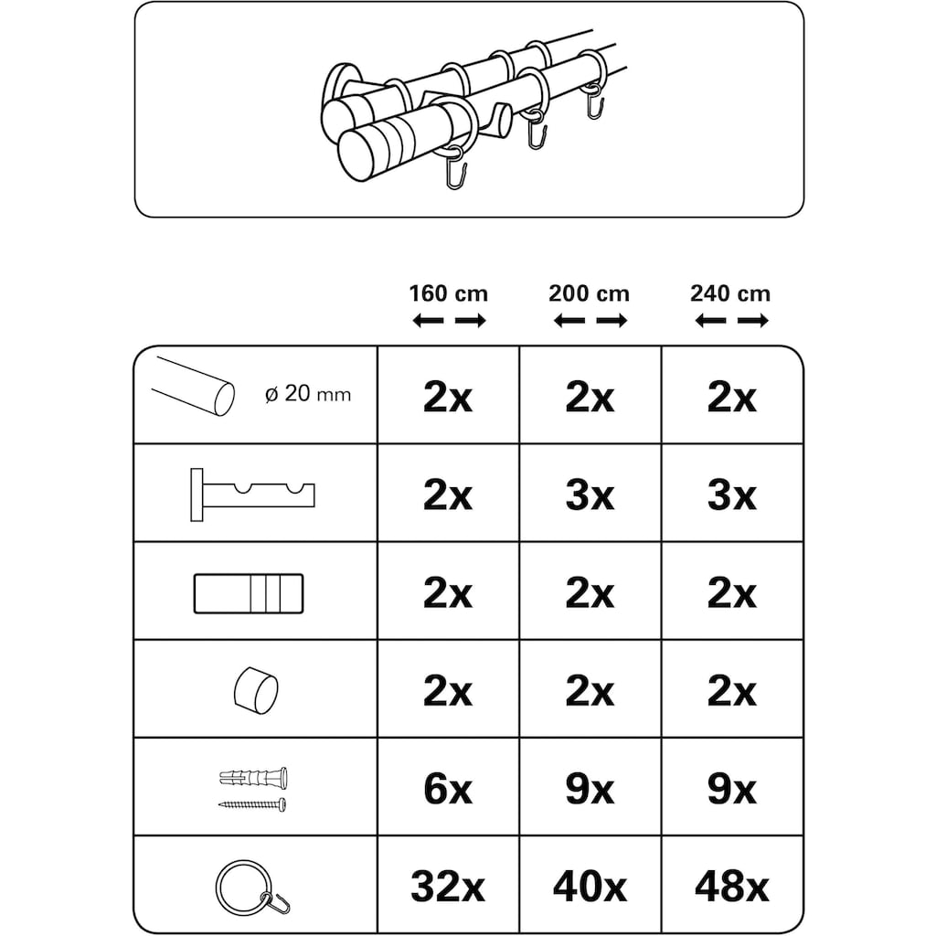 GARDINIA Gardinenstange »Gardinenstangen Set Metall«, 2 läufig-läufig, Fixmaß, Serie Zylinder