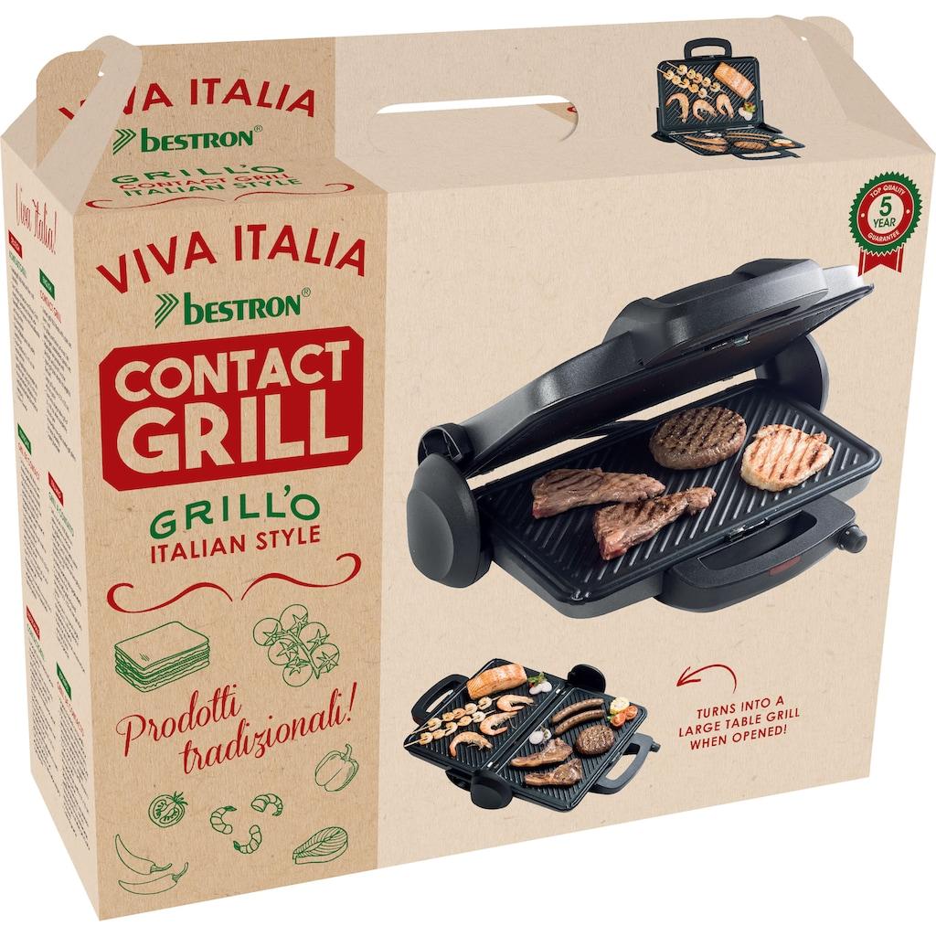 bestron Kontaktgrill »Viva Italia«, 1800 W, aufklappbar mit Ober-und Unterhitze, Farbe: Schwarz