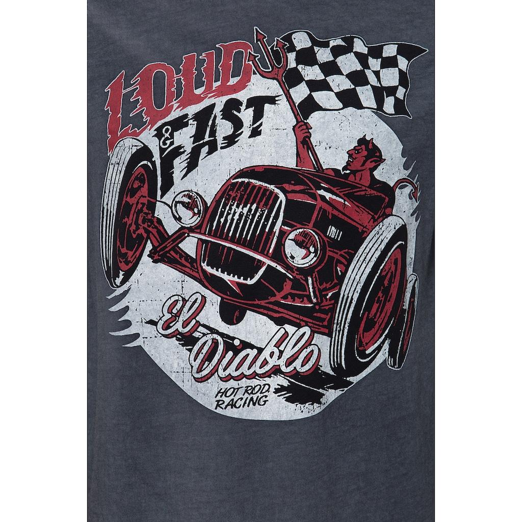 KingKerosin Print-Shirt »Loud & Fast«, im Used Look